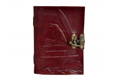Beautiful Embossed Leather Journal Brown Crow Leather Diary Note Book